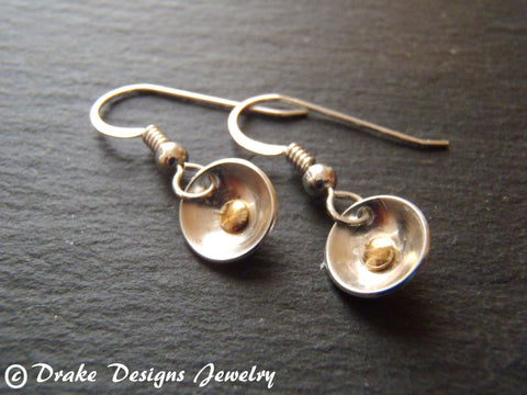 tiny mixed metal Sterling Silver poppy earrings - Drake Designs Jewelry