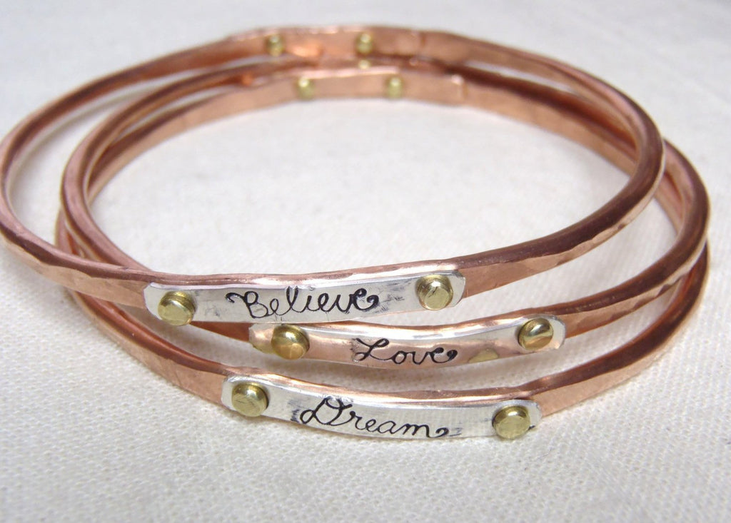 Rustic Copper bangle bracelet mixed metal inspirational jewelry - Drake Designs Jewelry