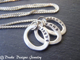 Sterling silver mom necklace with Kids'names custom hand stamped mother's jewelry - Drake Designs Jewelry