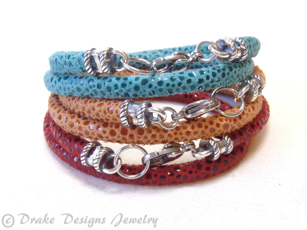 turquoise, red or orange Leather wrap bohemian Bracelet - Drake Designs Jewelry