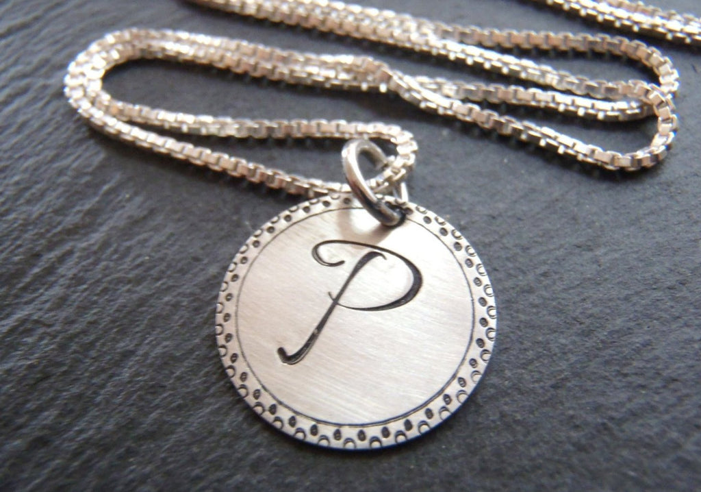 Sterling silver Initial necklace personalized bridesmaid gift - Drake Designs Jewelry