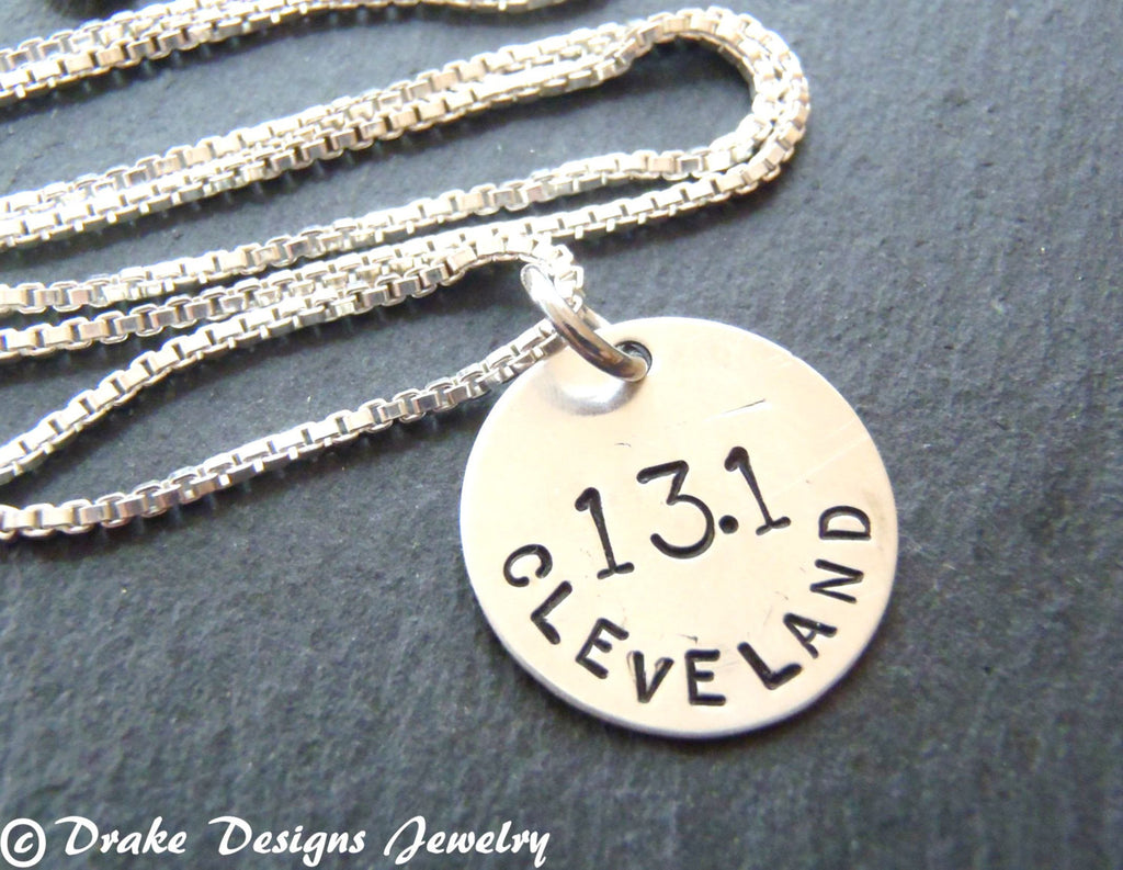 sterling silver marathon necklace gift for runner personalized runner gifts - Drake Designs Jewelry