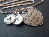 Sterling silver Mother's heart necklace personalized with kid's initials - Drake Designs Jewelry