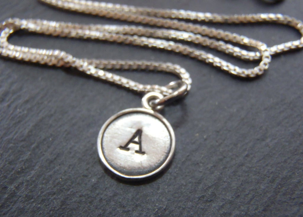 Sterling Silver initial typewriter key necklace - Drake Designs Jewelry