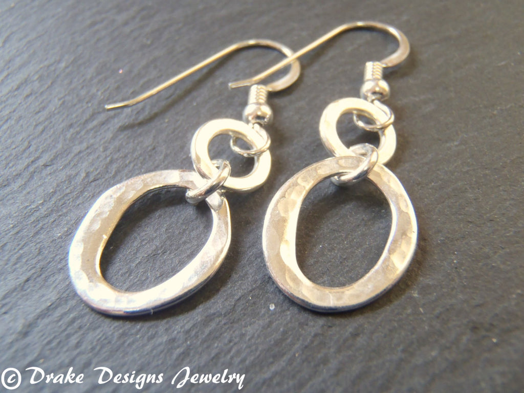 Sterling silver Small hammered hoop earrings dangle drop - Drake Designs Jewelry