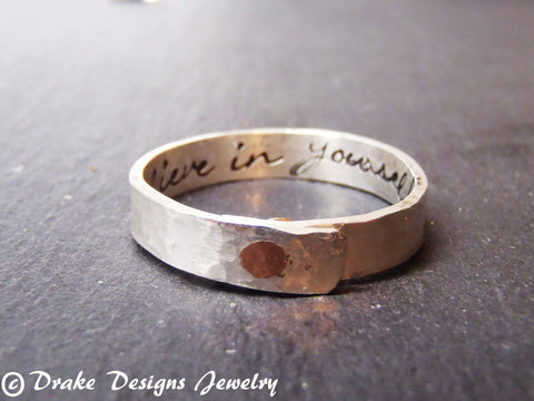 Sterling Silver Secret message ring Personalized With your message hidden - Drake Designs Jewelry