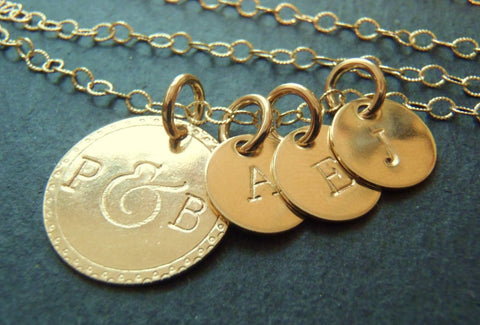 Family necklace gold filled personalized initial necklace - Drake Designs Jewelry