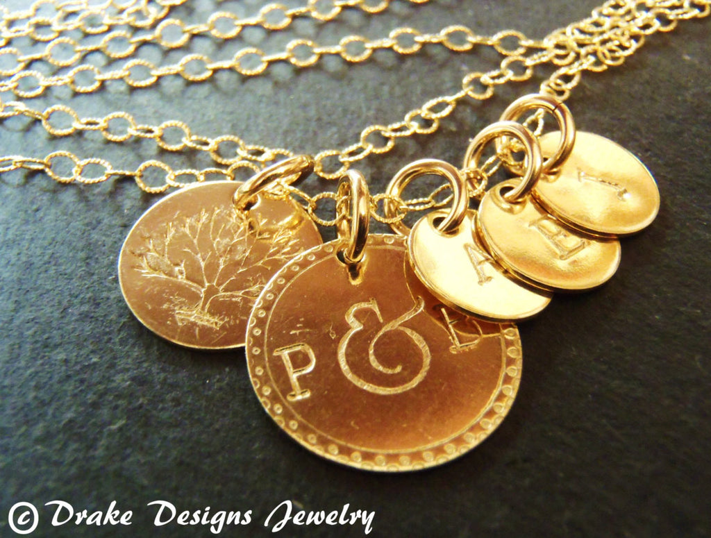 tree of life family necklace Gold filled personalized mom jewelry customized - Drake Designs Jewelry