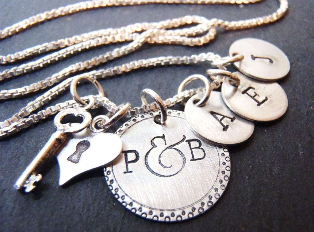 sterling silver key to my heart personalized family mom necklace with initials - Drake Designs Jewelry