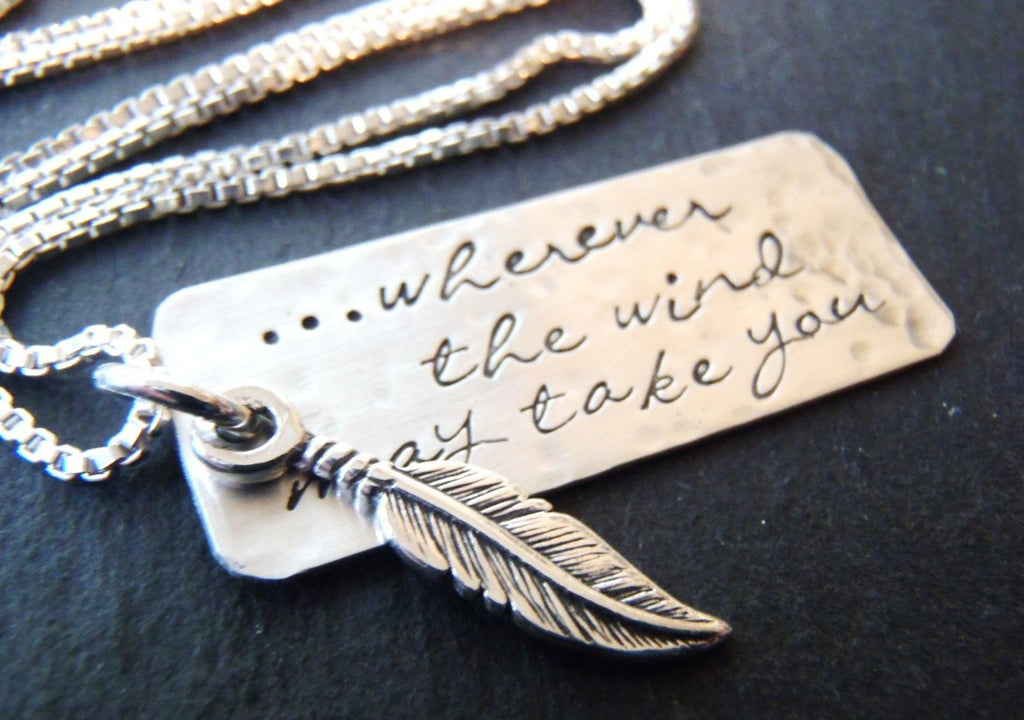sterling silver inspirational feather necklace - Drake Designs Jewelry