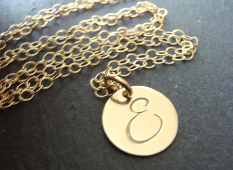 Initial necklace gold fill hand stamped monogram initial custom made - Drake Designs Jewelry