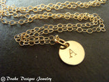 Tiny Gold initial necklace 14k Gold FIlled personalized jewelry - Drake Designs Jewelry