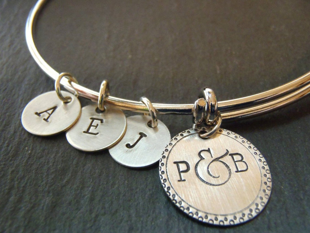 Personalized adjustable familybangle bracelet silver charms - mommy bracelet - Drake Designs Jewelry