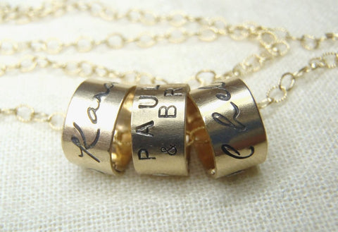 Mom necklace with names 14k gold filled personalized gold charm necklace - Drake Designs Jewelry