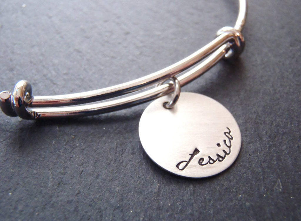 stacking bangle personalized bracelet with name - Drake Designs Jewelry