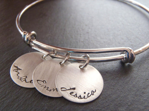 Mother's bracelet with children's name charms in script font on an adjustable bangle bracelet - Drake Designs Jewelry