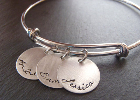 Personalized mom bracelet - silver adjustable bangle bracelet - Drake Designs Jewelry