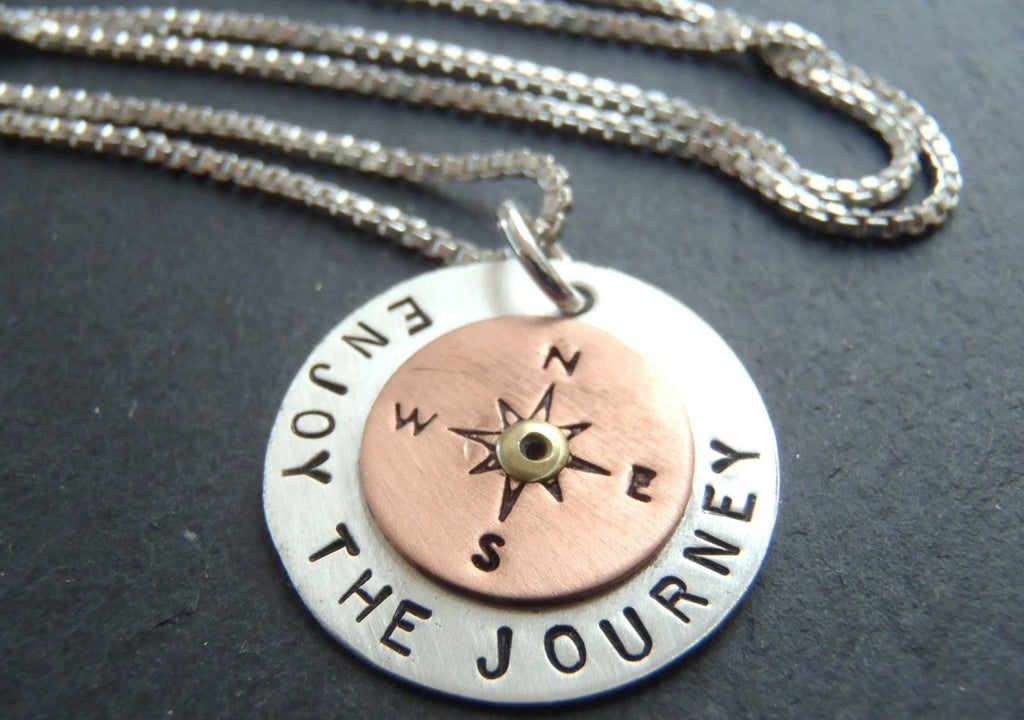 sterling silver enjoy the journey compass necklace inspirational jewelry - Drake Designs Jewelry
