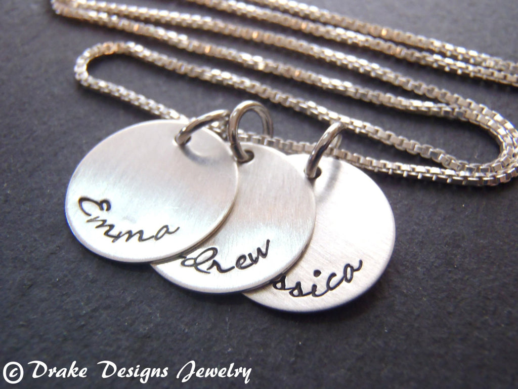 Sterling silver mother's necklace hand stamped with names gift  for mom - Drake Designs Jewelry