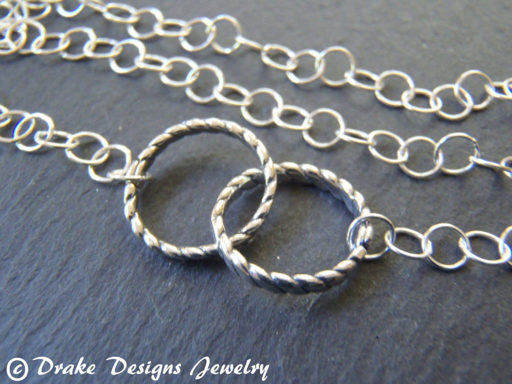 sterling silver necklace interlocking circles eternal love - Drake Designs Jewelry