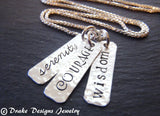 Sterling Silver courage necklace serenity prayer necklace serenity courage wisdom - Drake Designs Jewelry