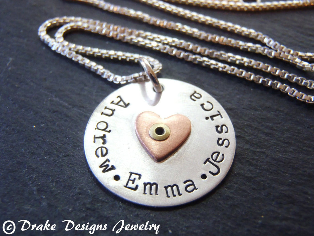 Sterling silver mommy necklace personalized with children's names - Drake Designs Jewelry
