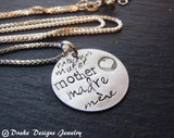 Sterling Silver mother necklace hand stamped Mother in different languages madre muter mere mamma - Drake Designs Jewelry