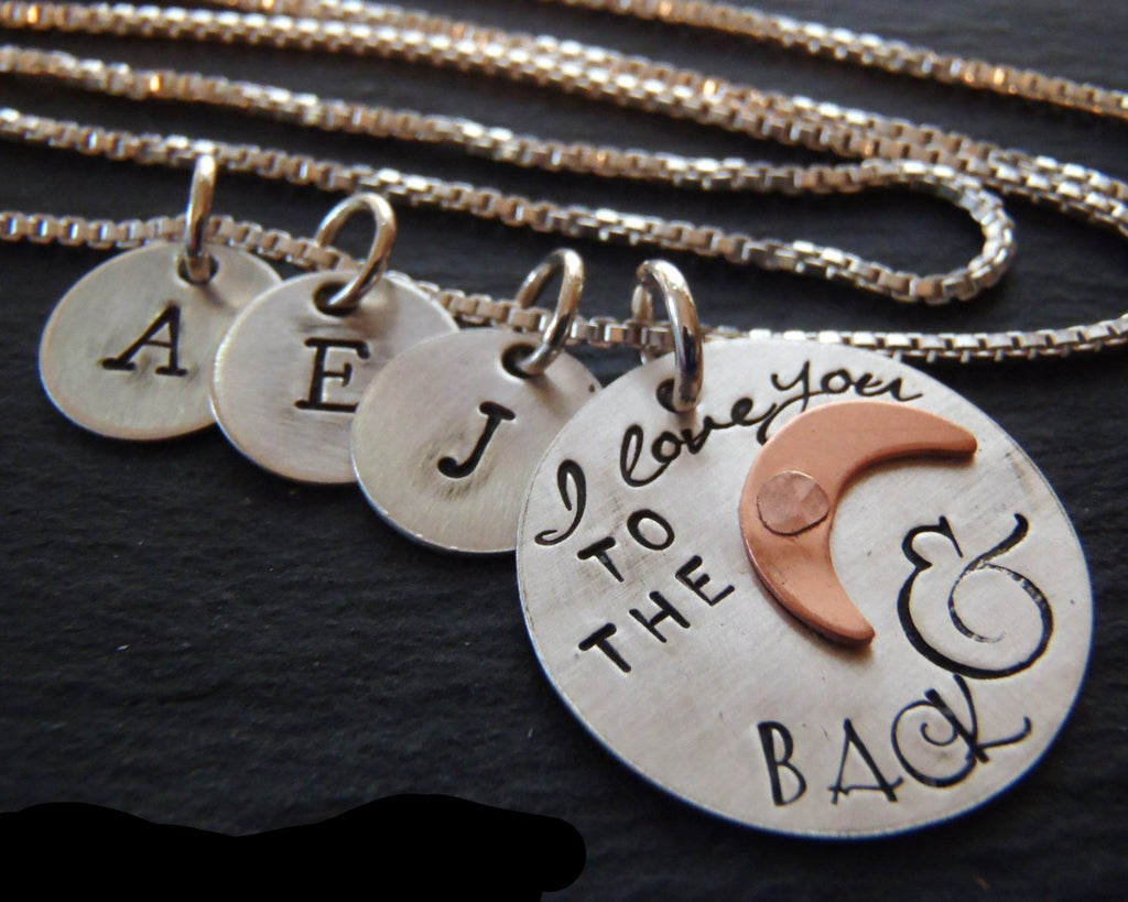 Family love- I love to the moon and back - Personalized sterling silver rustic mother's necklace with kid's initials - Drake Designs Jewelry