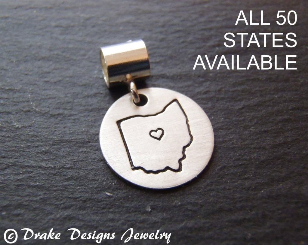Sterling silver state charm personalized European bead - Drake Designs Jewelry