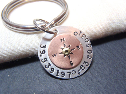 e738579c294b8 ... GPS coordinate keychain personalized in sterling silver and copper -  Drake Designs Jewelry