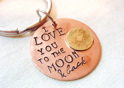 I love you to the moon and back keychain - Drake Designs Jewelry