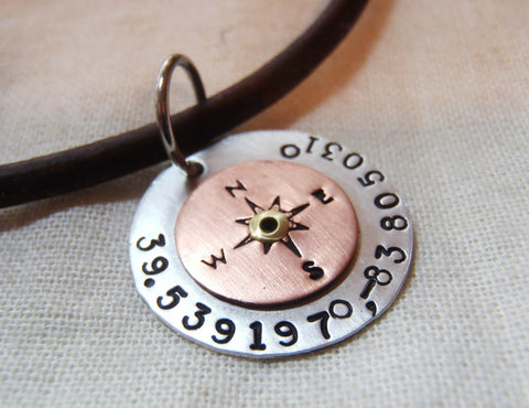 Personalized compass leather necklace with Latitude longitude custom coordinates - Drake Designs Jewelry