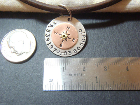 Personalized Compass Leather Necklace With Latitude