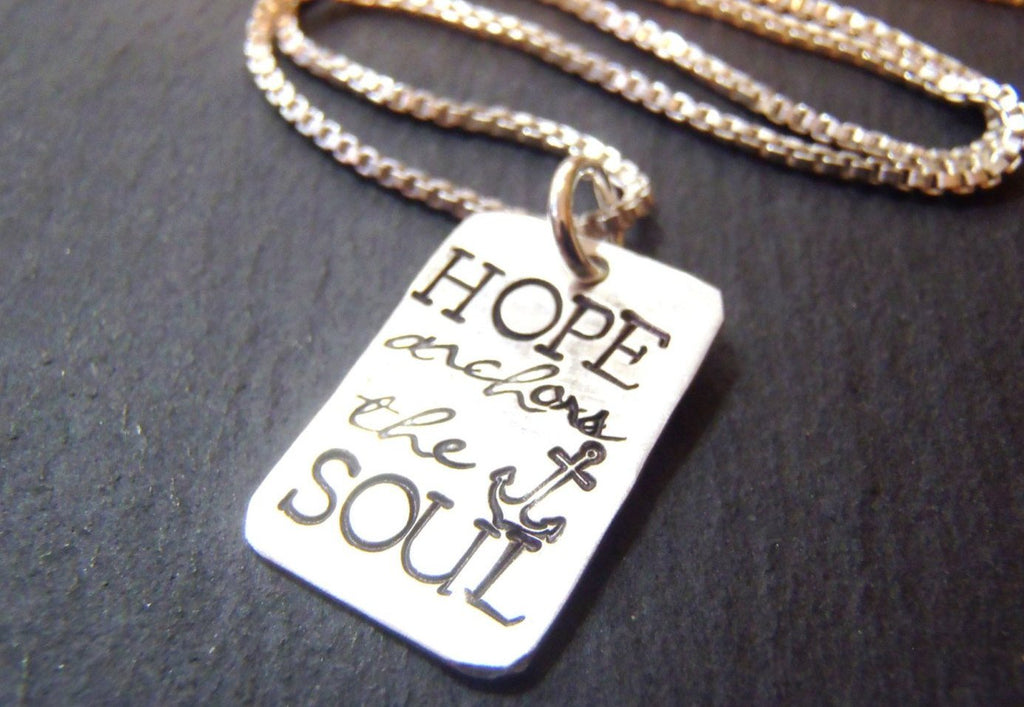 Hope anchors the soul necklace - sterling silver scripture jewelry - Drake Designs Jewelry