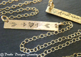Hammered gold bar necklace personalized with name, date or custom word - Drake Designs Jewelry