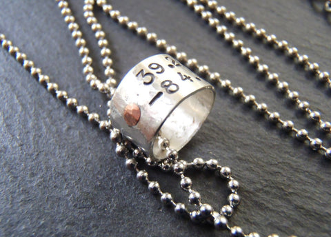 personalized coordinates charm necklace with hand stamped latitude and longitude - Drake Designs Jewelry