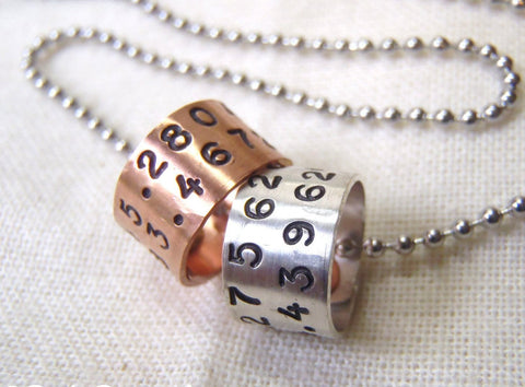 Rustic Men's personalized Coordinates necklace in mixed metals - Drake Designs Jewelry