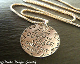 Sterling silver Motivational jewelry Life begins outside your comfort zone inspirational quote necklace - Drake Designs Jewelry