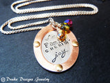 Sterling silver and copper personalized mother's necklace with birthstones - Drake Designs Jewelry