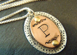 Rustic initial necklace personalized sterling silver and copper - Drake Designs Jewelry