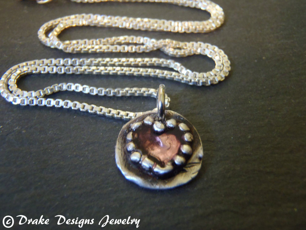 Valentine's Day gift for her recycled fine silver red heart necklace - Drake Designs Jewelry