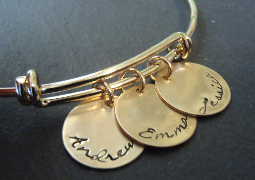 Personalized gold adjustable bangle bracelet for mom - Drake Designs Jewelry