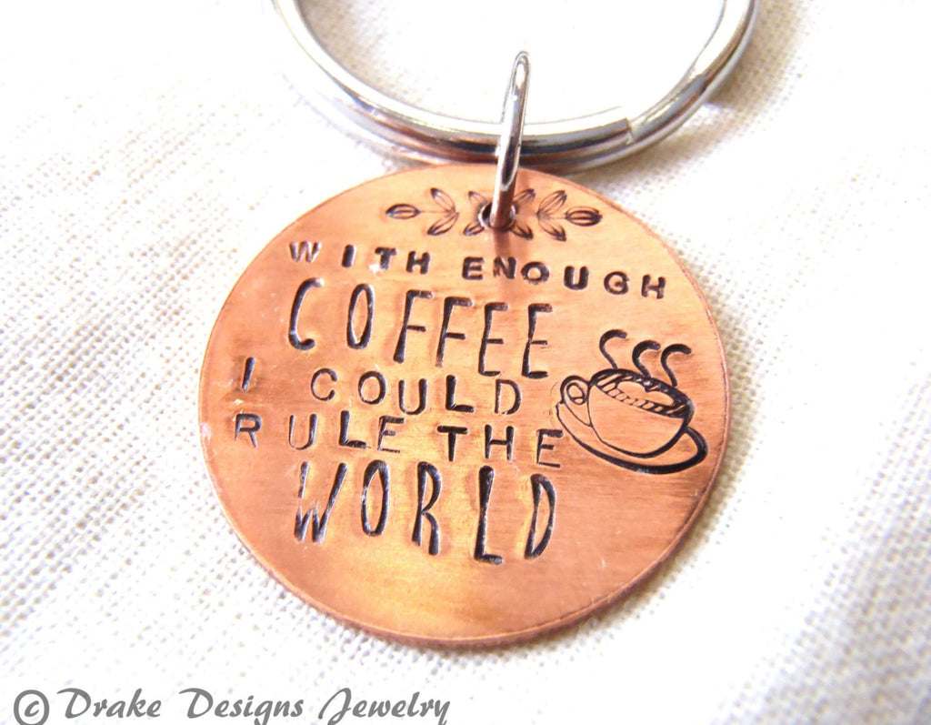 with enough coffee lover gift caffeine keychain - Drake Designs Jewelry