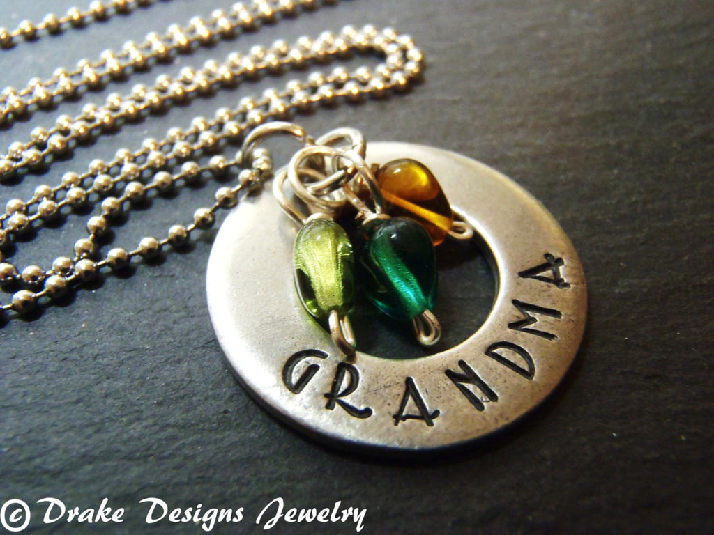 unique grandma necklace with birthstones gift for grandmother - Drake Designs Jewelry