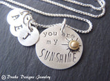 sunshine necklace personalize mommy necklace with kid's initials sterling silver mixed metal - Drake Designs Jewelry
