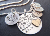Personalized family necklace for mom with kid's initials -sterling silver mixed metal - Drake Designs Jewelry