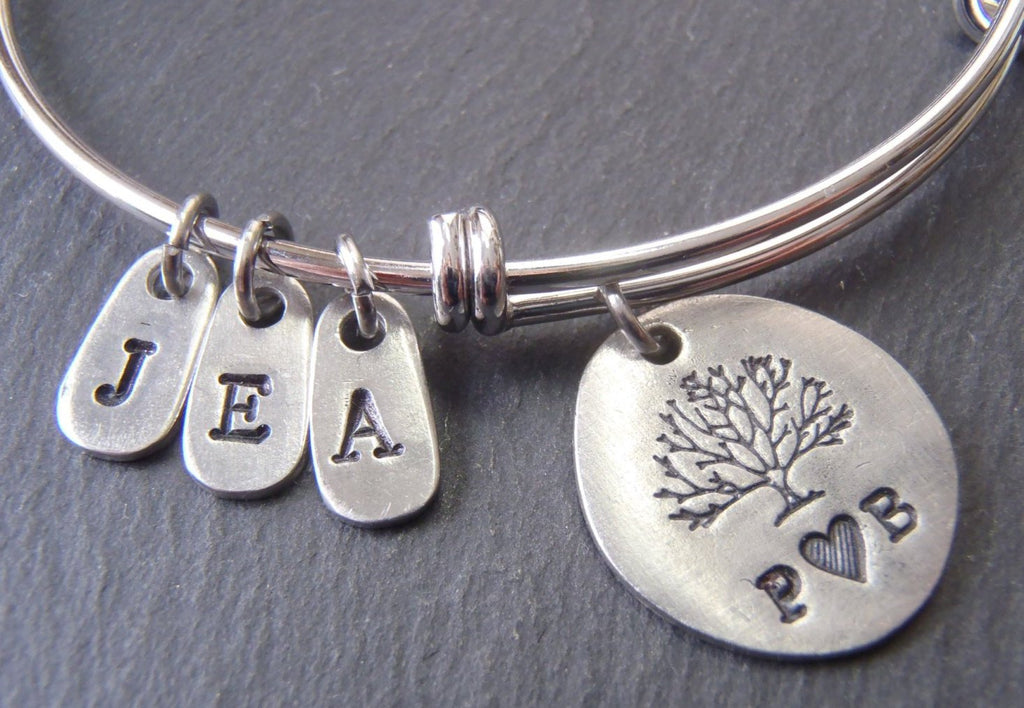 Family tree bracelet for mom personalized with initials - Drake Designs Jewelry