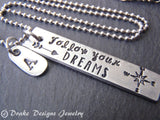 unique inspirational jewelry follow your dreams with compass personalized graduation gift - Drake Designs Jewelry