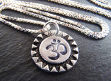 Recycled silver Om necklace rustic artisan sunburst jewelry - Drake Designs Jewelry
