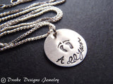 Sterling silver new mom necklace with personalized name push present baby footprints - Drake Designs Jewelry
